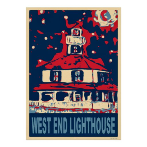 West End Light House and Moon Posters