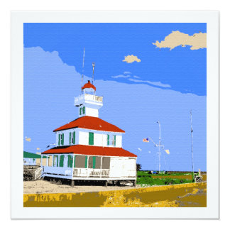 West End Lighthouse Watercolor 13 Cm X 13 Cm Square Invitation Card