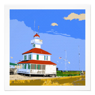 West End Lighthouse Watercolor Custom Invites
