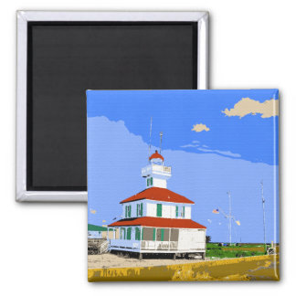 West End Lighthouse Watercolor Square Magnet