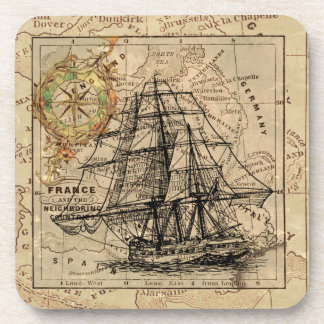 West Europe Vintage Map with Ship & Compass Coaster