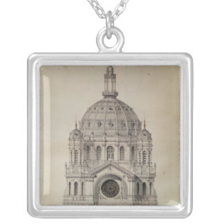 West facade of the Church of St. Augustin Silver Plated Necklace