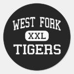 West Fork - Tigers - High - West Fork Arkansas Round Stickers