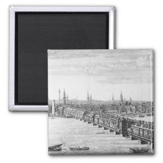 West Front of London Bridge, 1749 Square Magnet