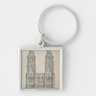 West Front of Strasbourg Cathedral Silver-Colored Square Key Ring