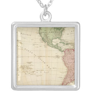 West Hemisphere map Silver Plated Necklace