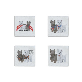 West Highland and Scottish Terriers Stone Magnet