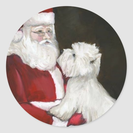 West Highland Terrier and Santa Dog Art Stickers