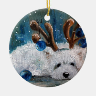 West Highland Terrier Blue Christmas Westie Dog Christmas Ornament