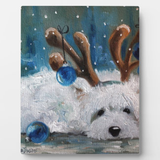 West Highland Terrier Blue Christmas Westie Dog Plaque