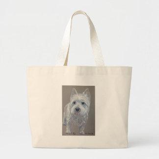 West highland terrier dog large tote bag