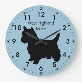 West Highland Terrier Dog Silhouette Personalized Clock