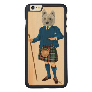 West Highland Terrier in Kilt Carved Maple iPhone 6 Plus Case
