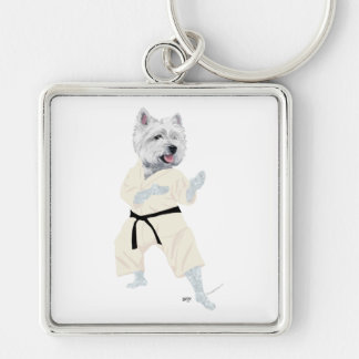 West Highland Terrier KARATE ! Silver-Colored Square Key Ring