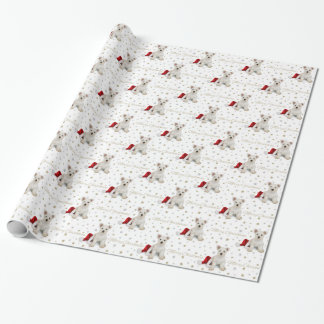 West Highland Terrier Puppy and Stars Christmas Wrapping Paper