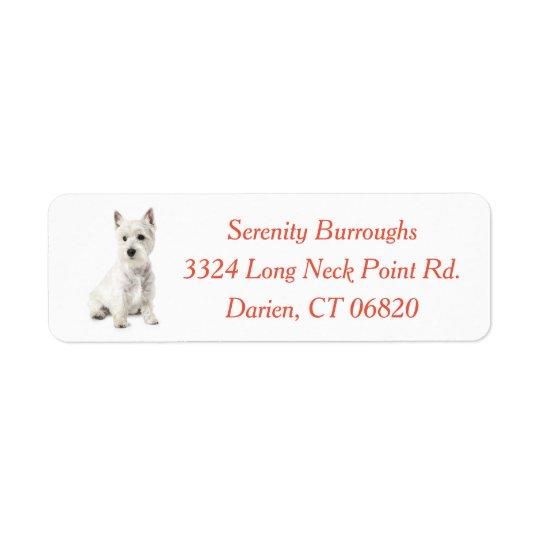 West Highland Terrier Puppy Dog Red Return Address Label
