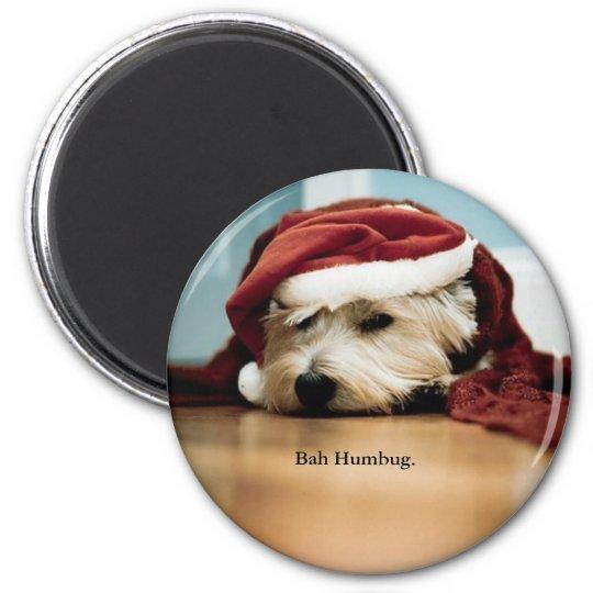 West Highland Terrier Santa Hat Christmas Westie 6 Cm Round Magnet