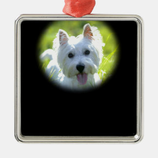 West Highland Terrier Silver-Colored Square Decoration