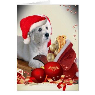 West Highland Terrier with Santa s Treats Card