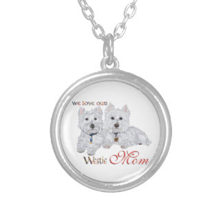 West Highland Terriers Mother's Day Round Pendant Necklace