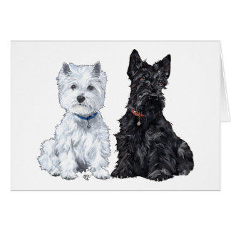 West Highland White & Scottish Terriers Greeting Card