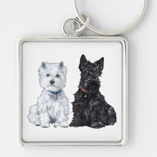 West Highland White & Scottish Terriers Key Ring