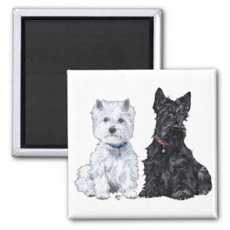 West Highland White & Scottish Terriers Square Magnet