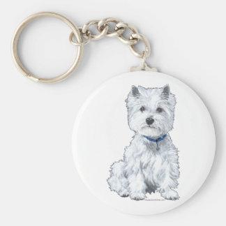 West Highland White Terrier Basic Round Button Key Ring