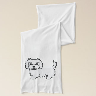 West Highland White Terrier Cartoon Dog Scarf