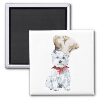 West Highland White Terrier Chef Square Magnet