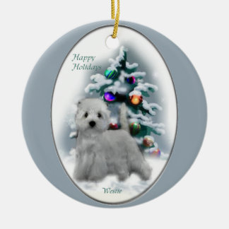 West Highland White Terrier Christmas Gifts Round Ceramic Decoration