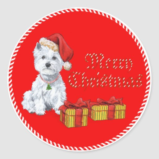 West Highland White Terrier Christmas Gifts Round Sticker