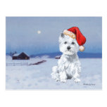 West Highland White Terrier Christmas Postcard