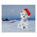 West Highland White Terrier Christmas Poster