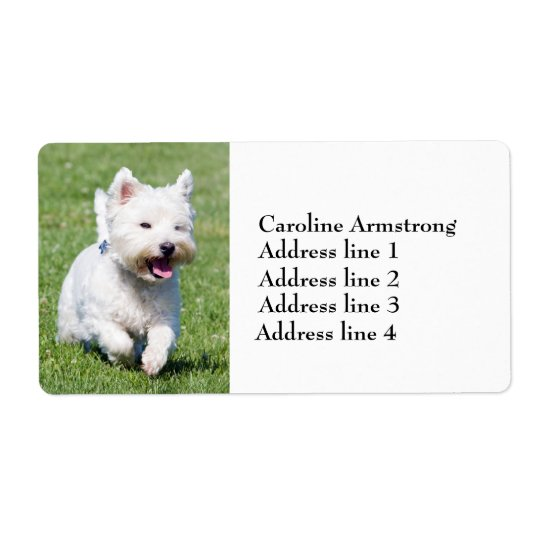 West Highland White Terrier custom address labels