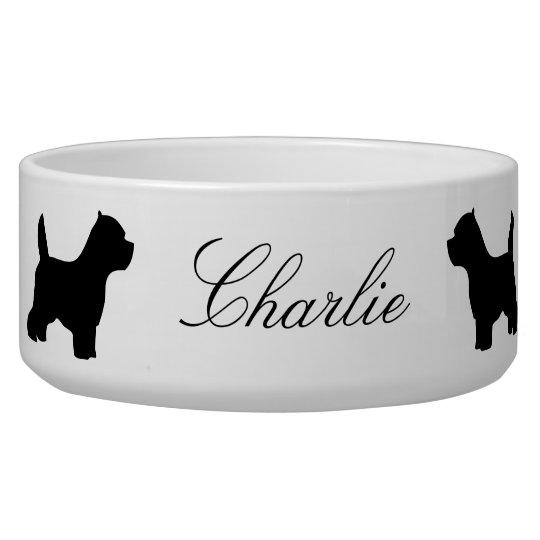 West Highland White Terrier custom name pet bowl