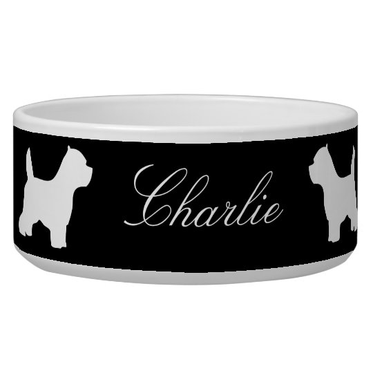 West Highland White Terrier custom name pet bowl