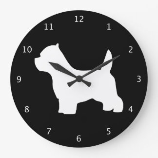 West Highland White Terrier dog black silhouette Wall Clocks