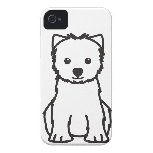 West Highland White Terrier Dog Cartoon iPhone 4 Case-Mate Cases