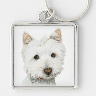 West Highland White Terrier Dog Silver-Colored Square Key Ring
