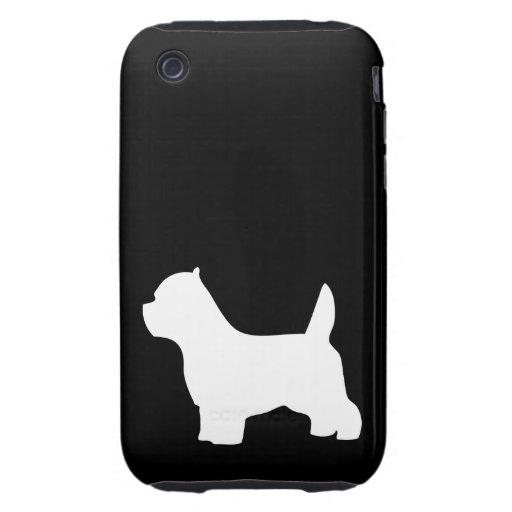 West Highland White Terrier dog, westie silhouette Tough iPhone 3 Cover