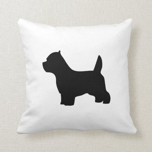 West Highland White Terrier dog, westie silhouette Pillows