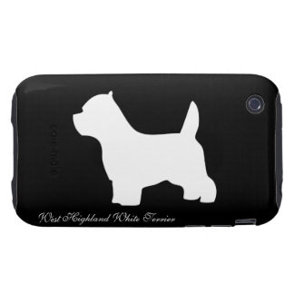 West Highland White Terrier dog, westie silhouette iPhone 3 Tough Covers