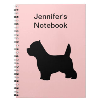 West Highland White Terrier dog westie, silhouette Notebooks