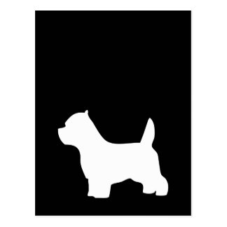 West Highland White Terrier dog, westie silhouette Postcard
