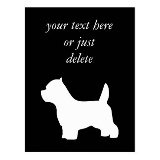 West Highland White Terrier dog, westie silhouette Postcard