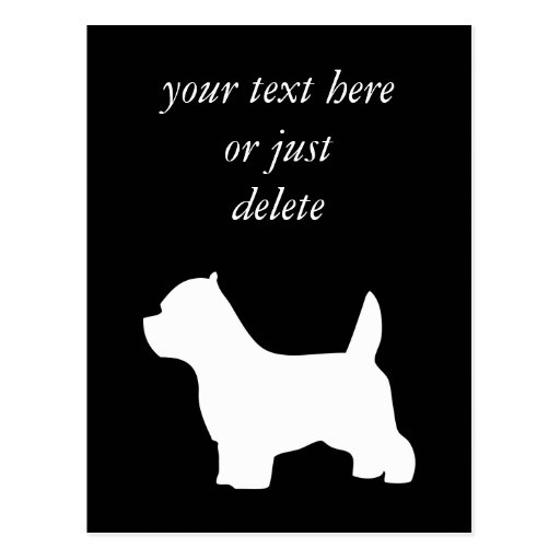 West Highland White Terrier dog, westie silhouette Postcards