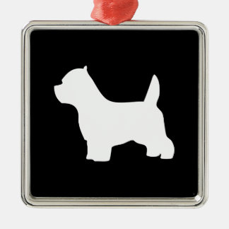 West Highland White Terrier dog, westie silhouette Silver-Colored Square Decoration