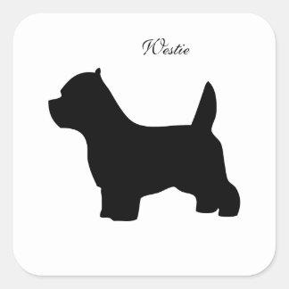 West Highland White terrier dog, westie silhouette Square Sticker
