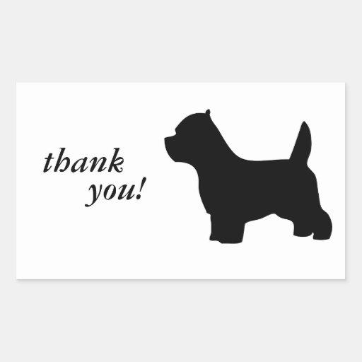 West Highland White Terrier dog, westie silhouette Rectangular Stickers